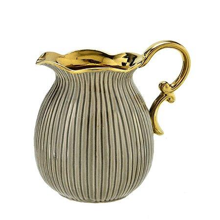 Jarra Decorativa Cinza c/ Dourado Mabruk