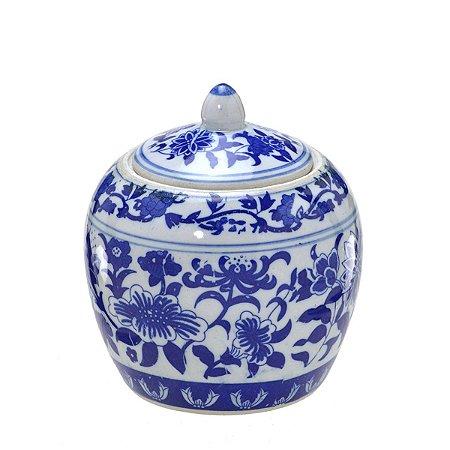 Pote Decorativo Azul e Branco Mabruk