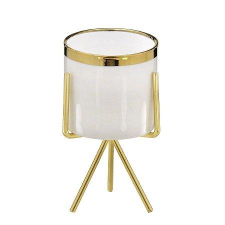 Cachepot Branco c/ Suporte Dourado 15cm Mabruk