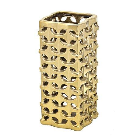 Vaso Cerâmica Dourado 31cm Mabruk