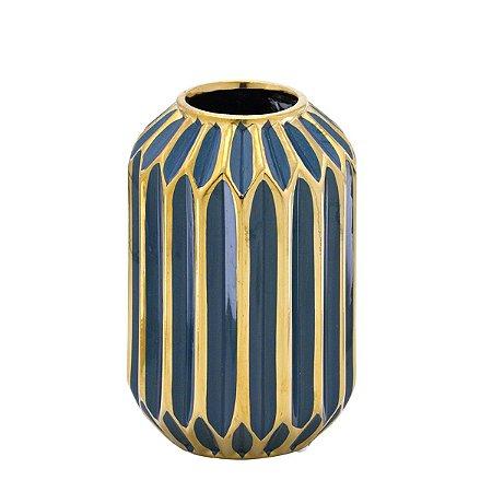 Vaso Decorativo Azul e Dourado 17cm Mabruk