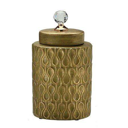 Potiche Cerâmica Dourado 30cm Mabruk