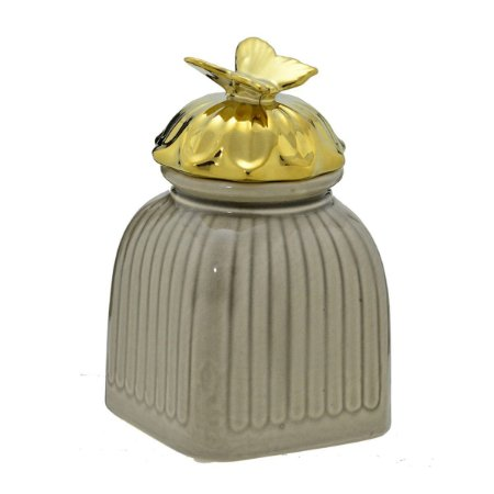 Potiche Decorativa Cinza c/ Dourado Mabruk