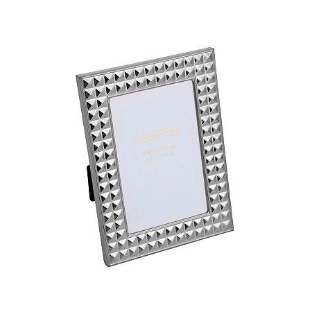 Porta Retrato Aço Diamond Prateado 10x15cm Rojemac