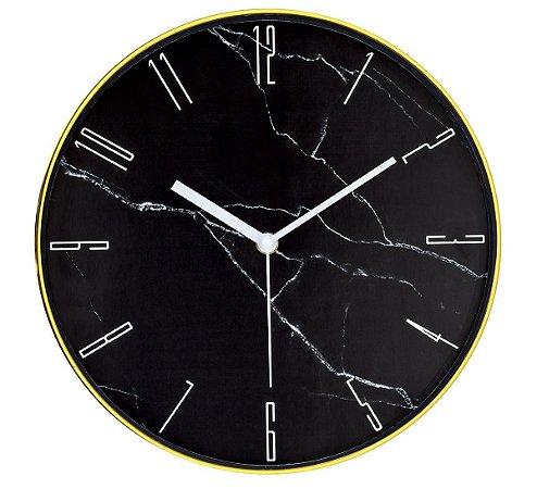 Relógio de Parede Marmorizado Preto e Dourado Mart