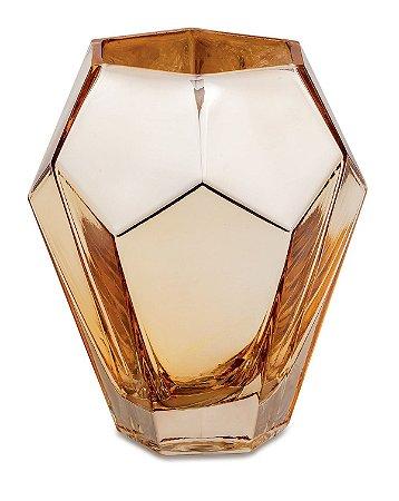 Vaso Diamante Vidro Dourado 15cm Mart