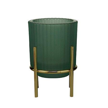 Castiçal Vidro Verde 13cm Rojemac