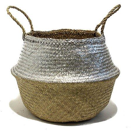 Cesto Decorativo Fibra Natural Bege M Antica