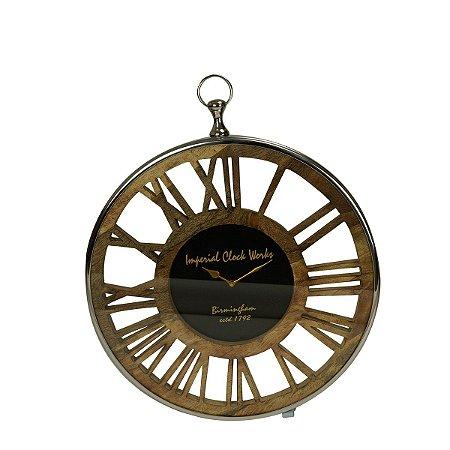 Relógio Madeira Metal Prateado Rojemac