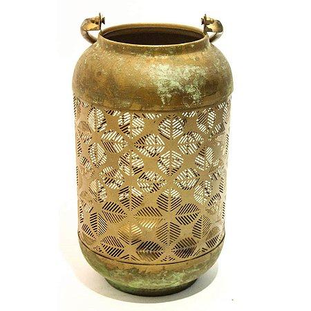 Lanterna Decorativa Ouro Velho c/ Verde 36cm City