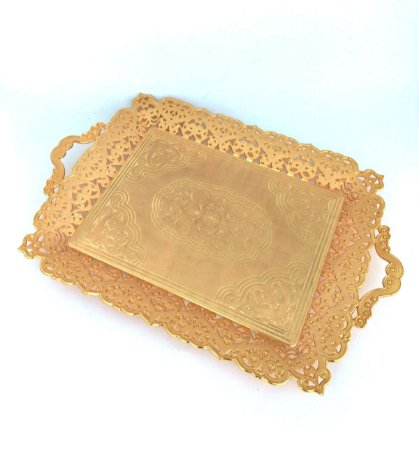 Bandeja Decorativa Metal Ouro Vylux