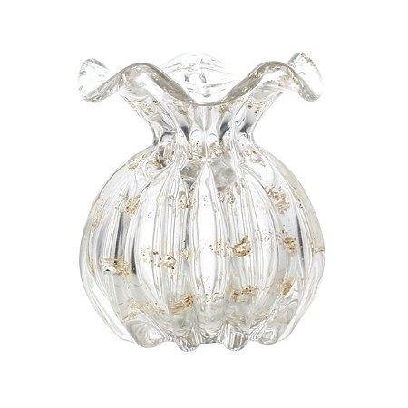 Vaso Murano Italy Transparente e Dourado 13cm Lyor