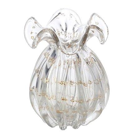 Vaso Murano Italy Transparente e Dourado 17cm Lyor
