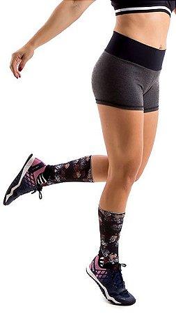 Shorts Fitness Lana - Mescla e Preto