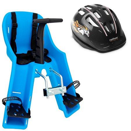 Capacete Preto + Cadeirinha Azul