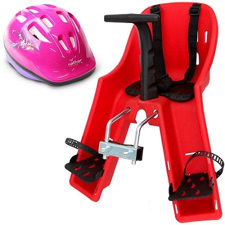 Capacete Rosa mr720 + Cadeirinha Vermelha mr570