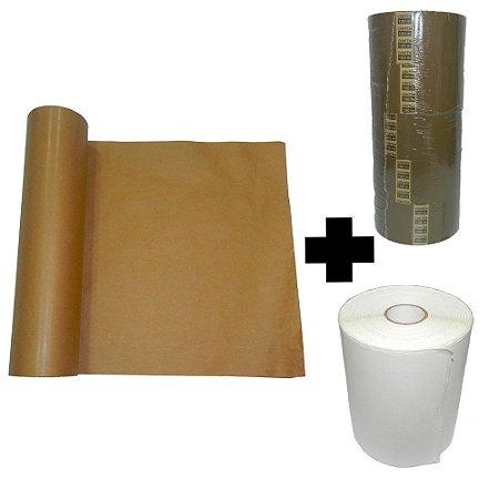Bobina Kraft + 1 Rolo Etiqueta Térmica + 5 Fitas Adesiva Marrom