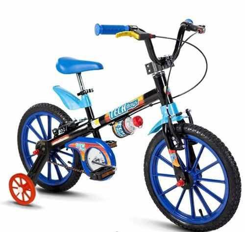 Bicicleta Aro 16 Tech Boys Preta e Azul