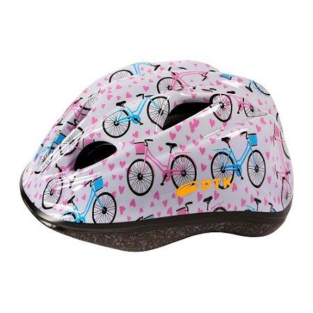 Capacete Pro Junior Retro Bikes 46 a 55 Branco C/ Azul Rosa
