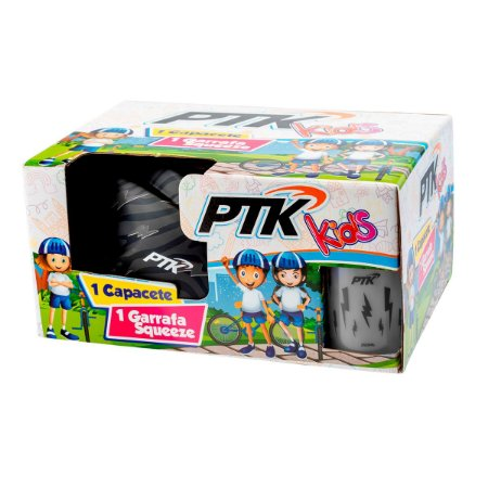 Kit Capacete KIDS Raio Prata com Regulador 46 a 56 CR + Squeeze 250ml