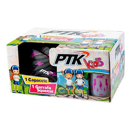 Kit Capacete KIDS Raio Rosa com Regulador 46 a 56 CR + Squeeze 250ml