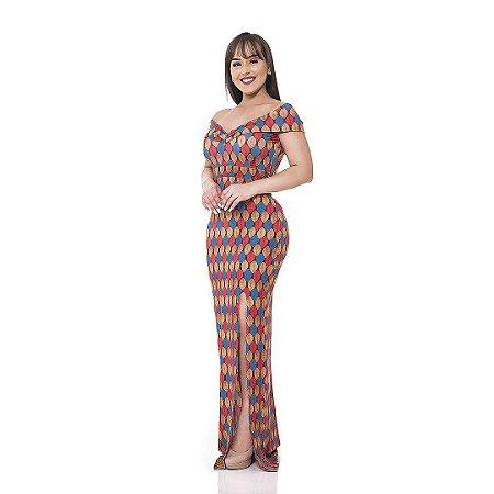 Vestido longo - Suplex Digital - Estampa grega.