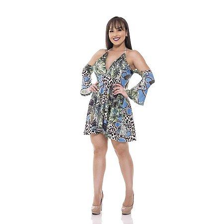 Vestido curto rodado manga flare - Suplex Digital - Estampa costela de adão com animal print.