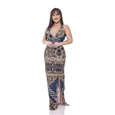 Vestido longo - Suplex Digital - Estampa de Arabesco - azul marinho com preto.
