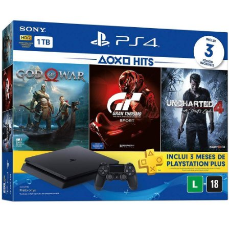 Console Playstation 4 Slim Hits Bundle - 1Tb + 3 Jogos