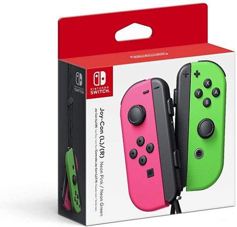 Controle Joy-Con para Nintendo Switch L e R - Verde e Rosa