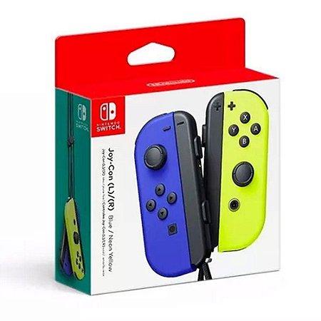 Controle Joy-Con para Nintendo Switch L e R - azul e amarelo