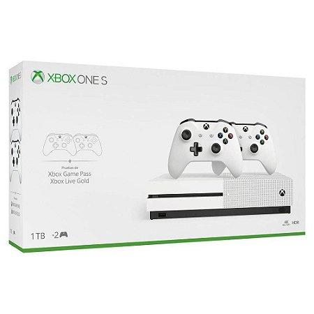 Console Xbox One S -  1tb  - Com 2 Controles - Branco