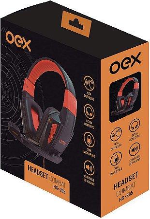 Headset Gamer Combat OEX Preto/Laranja - HS205