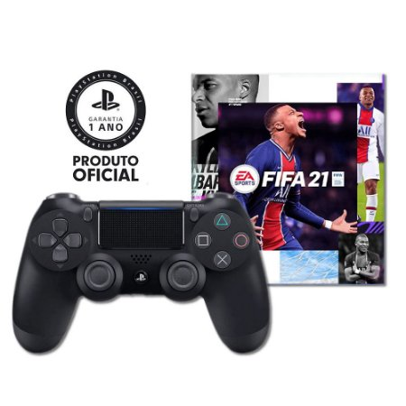 Controle Sony Dualshock 4 Preto sem fio + Fifa 21 Ultimate Team Voucher + 14 dias PSN - PS4