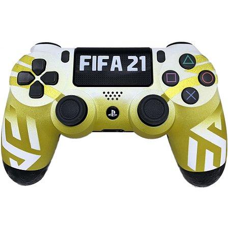 Controle sem Fio Dualshock 4 Sony Personalizado Fifa 21 Amarelo - PS4