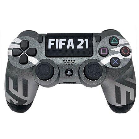Controle sem Fio Dualshock 4 Sony Personalizado Fifa 21 Cinza - PS4