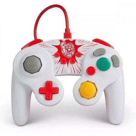 Controle Nintendo Switch Com Fio Estilo GameCube Super Mario PowerA