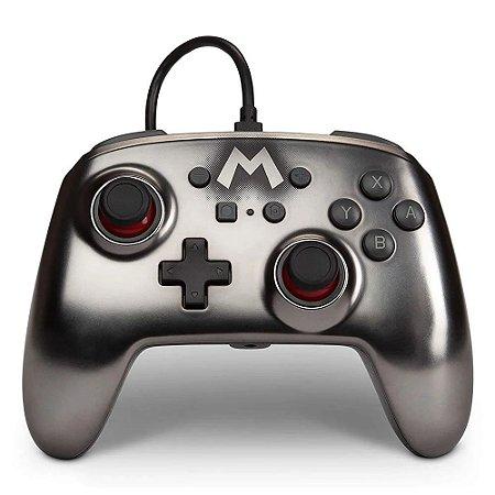 Controle Nintendo Switch Com Fio Super Mario Metálico PowerA