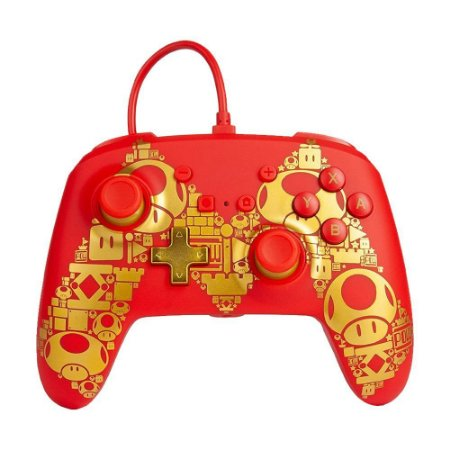 Controle Nintendo Switch Com Fio Super Mario Gold PowerA