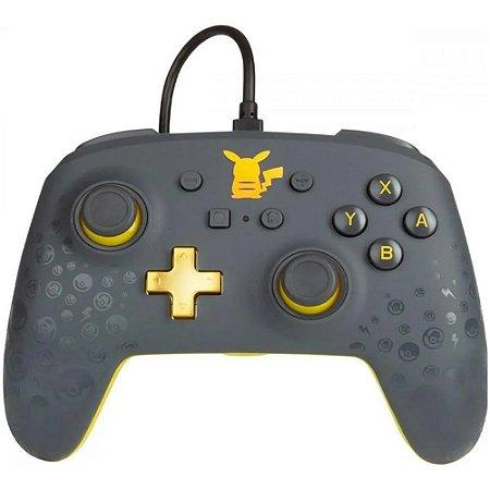 Controle Nintendo Switch Com Fio Pikachu Gray Cinza PowerA