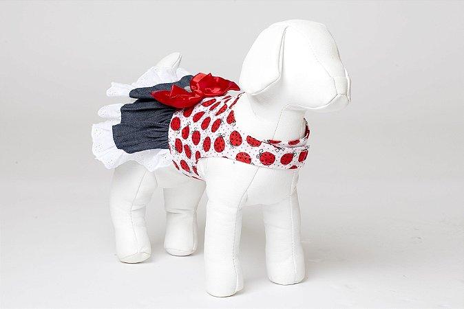Roupinha para Cachorro Petisco - Vestido Asa Delta Joaninha