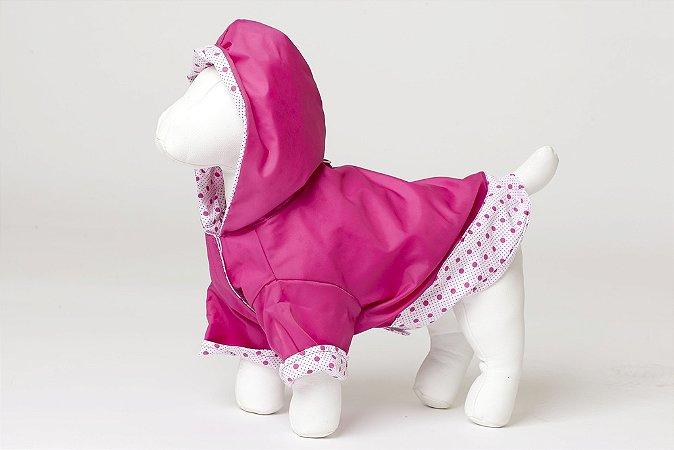 Roupinha para cachorro Petisco - Capa de Chuva Rosa