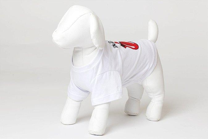 Roupinha para Cachorro Petisco - Camiseta Malha Stones Branca