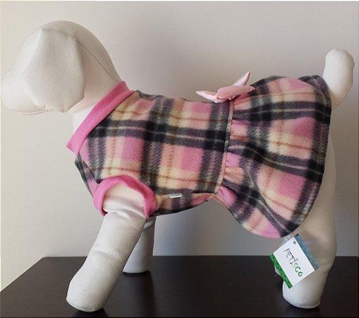 Roupinha para Cachorro Petisco - Vestido Fechado Soft Xadrez
