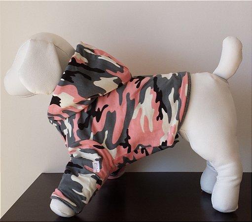 Roupinha para Cachorro Petisco - Casaco Moletom Dupla Face Cinza/Camuflado Rosa com Capuz
