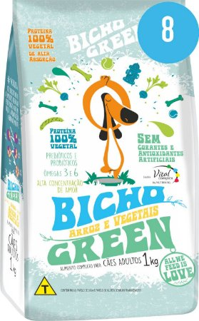 Bicho Green - Alimento 100% Vegetal  para Cães Adultos 8 Kg (Kit com 8 Pacotes de 1Kg)