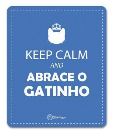 Placa Decorativa Azul - Keep Calm e Abrace o Gatinho - CatMyPet