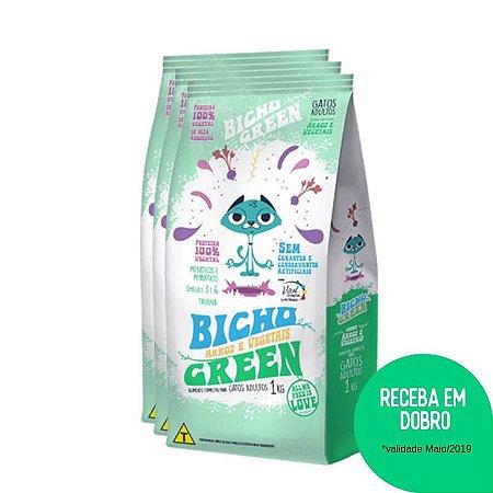Promoção Bicho Green em DOBRO - Alimento Completo Conservado Naturalmente para Gatos Adultos 3KG