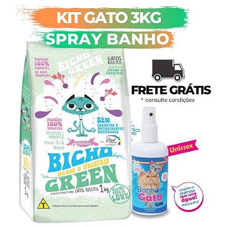 [ FRETE GRÁTIS ] - KIT BICHO GREEN GATO 3KG + SPRAY BANHO