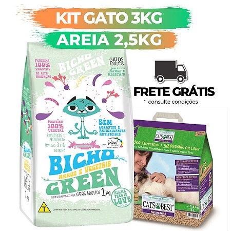 [ FRETE GRÁTIS ] - KIT BICHO GREEN GATO 3KG + AREIA CATS BEST GOLD 2,5KG